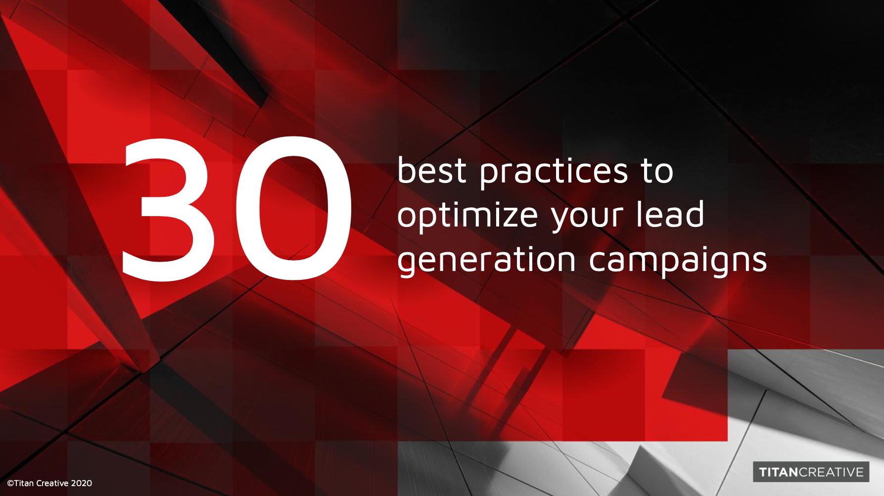 30 Best Practices for Lead Gen